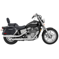 Honda VTX 1800 C Viking Lamellar Slanted Leather Covered Motorcycle Hard Saddlebags