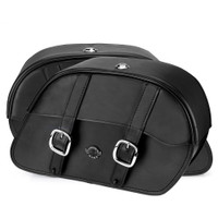 Harley Dyna Fat Bob FXDF Charger Slanted Leather Saddlebags 4
