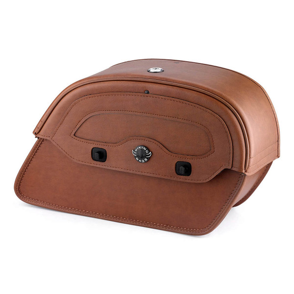 Viking Warrior Series Brown Large Motorcycle Saddlebags For Harley Softail Slim 01
