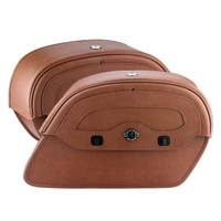 Viking Warrior Series Brown Large Motorcycle Saddlebags For Harley Softail Slim 04