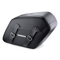 Viking Baldur Extra Large Black Leather-Wrapped Hard Saddlebags