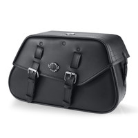 Viking Loki Classic Leather Motorcycle Saddlebags For Harley Softail Sport Glide