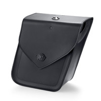 Viking Dark Age Compact Plain Leather Motorcycle Saddlebags For Softail Super Low 1200T