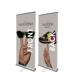 "33"" Edge Double Sided Banner Stand With Front & Back Banners"