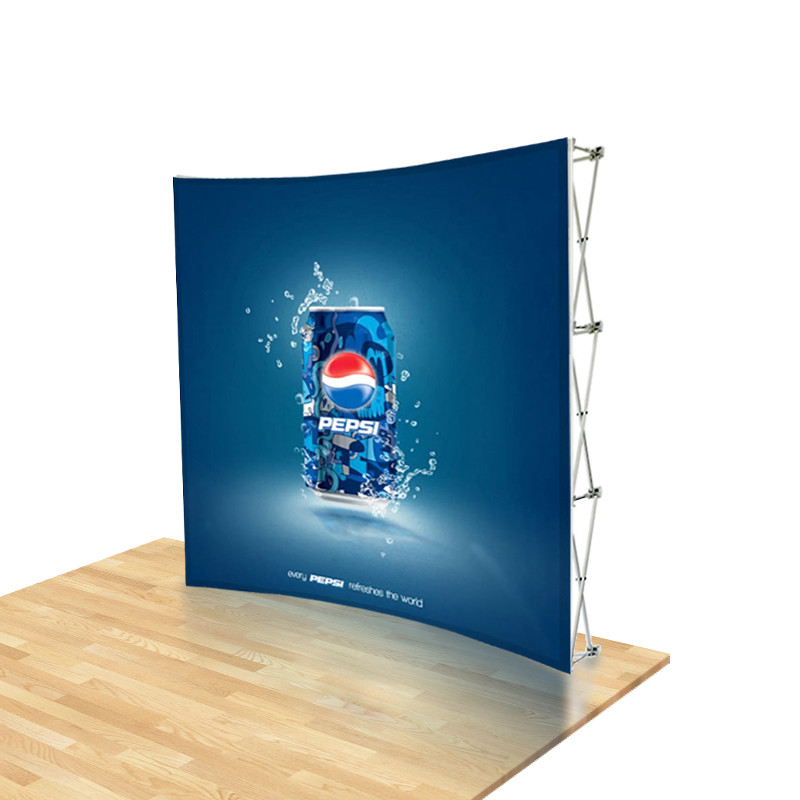 8ft Urge Curved Tension Fabric Pop Up Backdrop Display