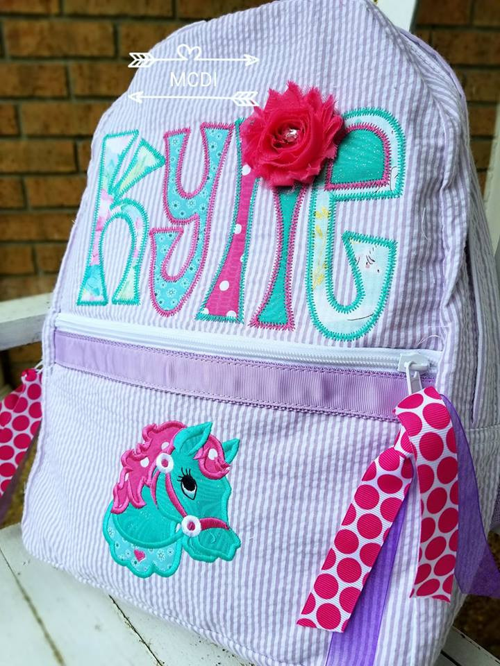 e52aa5a9375a Seersucker Backpack Appliqued. Price   55.00. Image 1