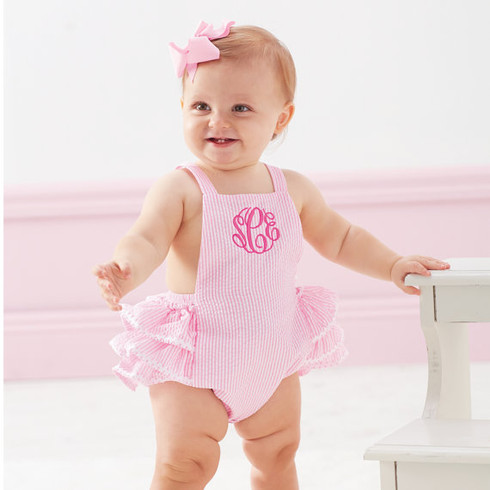 a4f66b1743bf Girls' Seersucker Ruffle Bubble Romper - Momma Can Do It