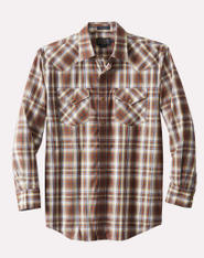 Frontier Long Sleeve Shirt Yellow Rust Navy Plaid