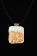 Orange Napping Cat Pendant