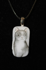 Grey/ White Cat Pendant