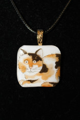 Orange Brown White Cat Pendant