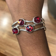 Red Dragonfly Drop Silver Bangle