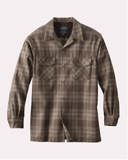 The Original Board Shirt- Tall Brown / Taupe Mix Plaid by Pendleton.