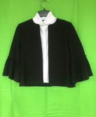 Black Jacket,Collarless, 3/4 Length Ruffled Sleeve