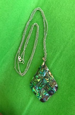 Diamond Shape Abalone Inlay on Mother of Pearl Backing Necklace on Silver Chain