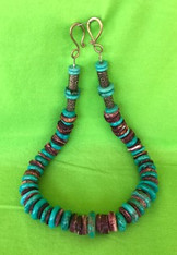 "Necklace, 18"", Turquoise, Copper Decorated Spacers and Catch"