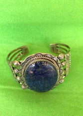 Large Oval Lapis Stone Sterling Silver Bangle