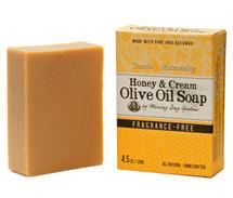 Honey & Cream Olive Oil Soap, Fragrance Free (4.5 oz.)
