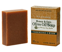 Honey & Oats Olive Oil Soap, Frankincense and Myrrh (4.5 oz.)