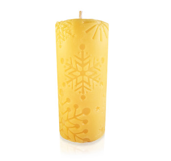Snowflake Pillar Beeswax Candle