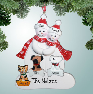 Snowman couple with pets