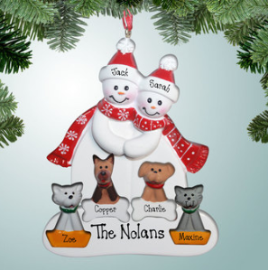 Snowman couple with four pets