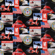 U.S. Coast Guard Cotton Fabric Geometric Design