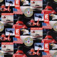 U.S. Coast Guard Cotton Fabric Geometric Design