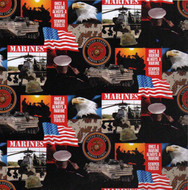 U.S. Marine Corps Cotton Fabric Geometric Design