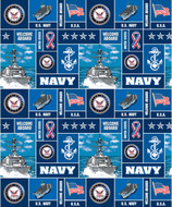 U.S. Navy Fleece Fabric Geometric Design