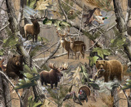 RealTree Fleece Blanket Fabric With Bear,Elk,Deer