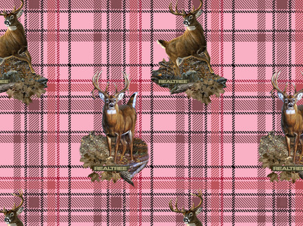RealTree Pink Fleece Blanket Fabric With Plaid Design And Animals