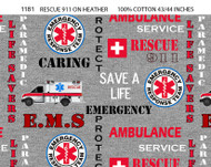 Emergency Rescue, 911 Cotton Fabric with Heather Pattern-Sold by the Yard