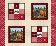 Farmall Cotton Fabric Pillow Panel with Plaid Design--Sold by the Panel