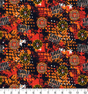 Fireman, Firefighter Cotton Fabric with Abstract Pattern-Sold by the Yard
