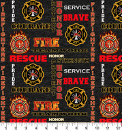 Fireman, Firefighter Cotton Fabric with Heather Pattern-Sold by the Yard