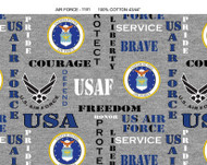 US Air Force Cotton Fabric with Heather Pattern-Sold by the Yard