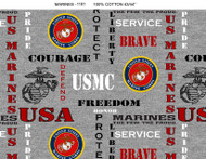US Marines Cotton Fabric with Heather Pattern-Sold by the Yard