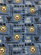 US Navy Cotton Fabric with Heather Pattern-Sold by the Yard