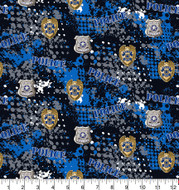 Police Department Cotton Fabric with Abstract Pattern-Sold by the Yard