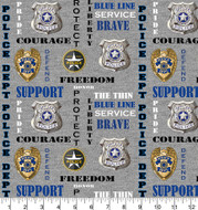 Police Department Cotton Fabric with Heather Pattern-Sold by the Yard