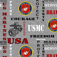 U.S. Marines Fleece Blanket Fabric-Sold by the Yard