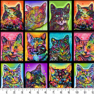 Crazy for Cats Cotton Fabric Collections-Cats Quilting Fabric, Kittens Quilting Fabric-Cats in Blocks--Sold by the Yard