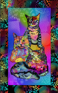 Crazy for Cats Cotton Fabric Collections-Cats Quilting Fabric, Kittens Quilting Fabric-Cat Panel--Sold by the Panel