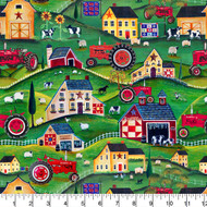 Farmall Cotton Fabric-Farmall Quilting Cotton Fabric-Farmall Folk Art Collection--Allover Pattern-Sold by the Yard