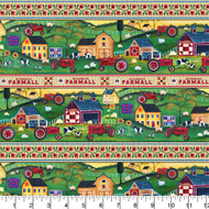 Farmall Cotton Fabric-Farmall Quilting Cotton Fabric-Farmall Folk Art Collection--Shelf Pattern-Sold by the Yard