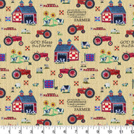 Farmall Cotton Fabric-Farmall Quilting Cotton Fabric-Farmall Folk Art Collection-Sampler Pattern--Sold by the Yard
