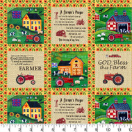 Farmall Cotton Fabric-Farmall Quilting Cotton Fabric-Farmall Folk Art Collection-Box Pattern--Sold by the Yard