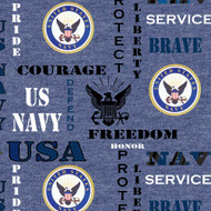 US NAVY Fleece Fabric-Sold by the yard