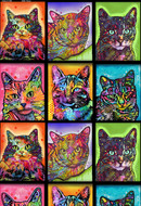 Crazy for Cats Fleece Fabric with Warhol Design--Sold by the Yard